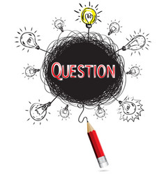 red pencil idea concept red question education vector image