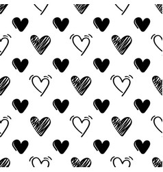 seamless pattern with black hand drawn hearts on vector image