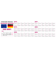 set grid wall calendar deutsche german dutch vector image