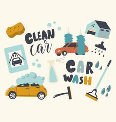 set icons car wash service automobile on foam vector image