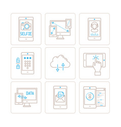 set of mobile tech icons and concepts in mono vector image