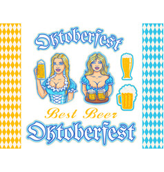 set stickers and patterns for oktoberfest vector image
