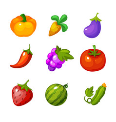 set vegetables and berries for farm vector image