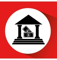 Silhouette bank building bill money cash icon vector