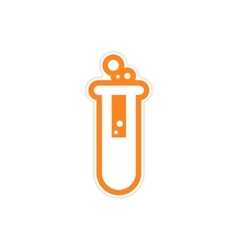 Sticker flask with substance as logo or icon of vector