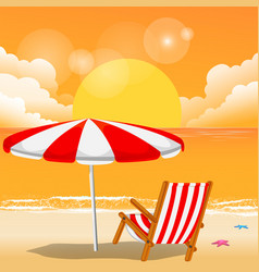 summer red beach umbrella chair sunset background vector image