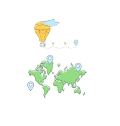 Travelling The World On Hot Air Balloon vector
