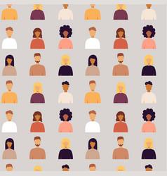 Trendy people portrait seamless pattern vector