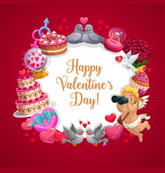 Valentines day hearts gifts and cupid frame vector