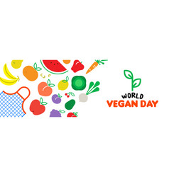 vegan day web banner of vegetable and fruit icons vector image