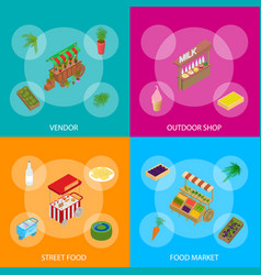 Vendor food street signs 3d banner set isometric vector