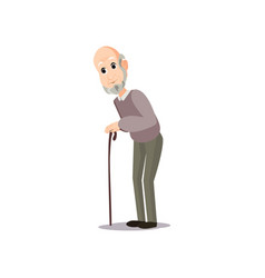 walking senior man in wood walking stick at city vector image