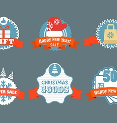 Winter discount labels vintage labels vector image