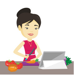 Woman cooking healthy vegetable salad vector