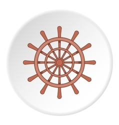 Wooden ship wheel icon cartoon style vector image