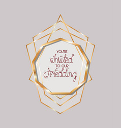 You are invited to our wedding text in gold circle vector