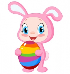 baby with Easter egg vector image vector image