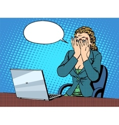 Businesswoman with laptop bad news vector