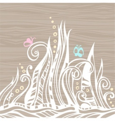 floral doodles on wood vector image