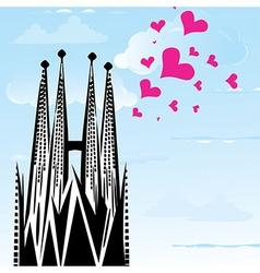 I love town city Barcelona Spain heart vector image