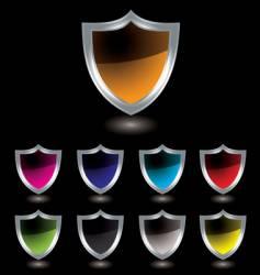 silver shield black vector image