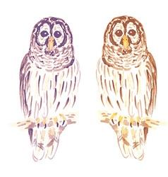 Watercolor cute owl in vintage style vector image