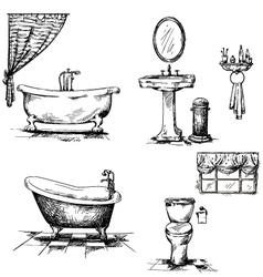Bathroom interior elements hand drawn vector image vector image