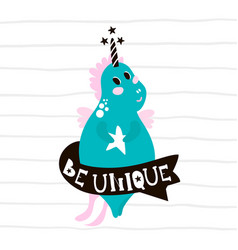 cute magic unicorn print ready childish label vector image vector image