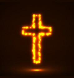 glowing cross christian symbol vector image