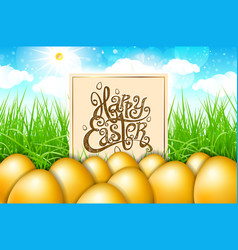 golden gold eggs in a field of grass with blue vector image