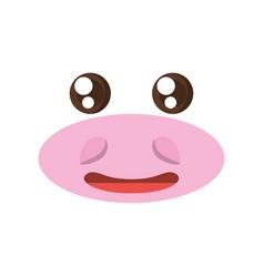 Kawaii face hippo animal expression icon vector