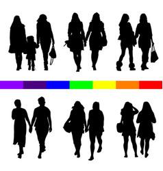 Lesbian couple silhouette set in black vector