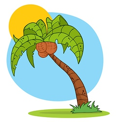 Cartoon Palm Tree With Background vector image vector image