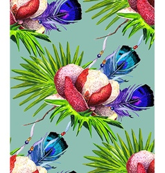 Magnolia and Feathers blue green pattern vector image vector image