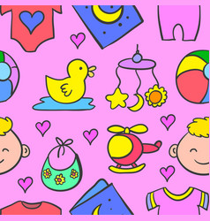 object baby set design of doodles vector image