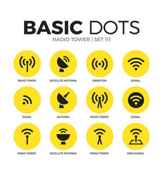 radio tower flat icons set vector image