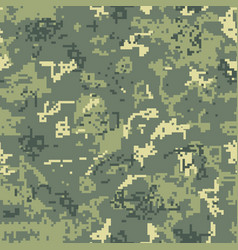 seamless green camouflage of pixel pattern vector image