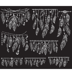Tribal theme with feathers on black vector image vector image