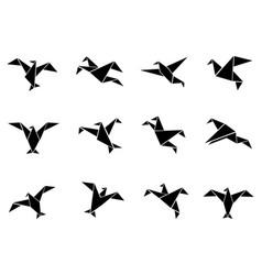 black paper birds icons set vector image