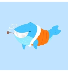 Blue whale smoking pipe in padded coatarctic vector
