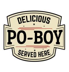 delicious po-boy label or icon vector image
