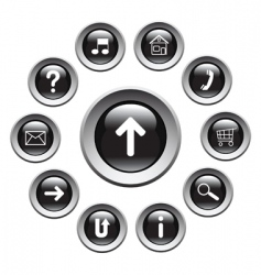 glossy buttons with symbols vector image