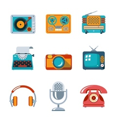 Retro media icons in flat style vector image vector image