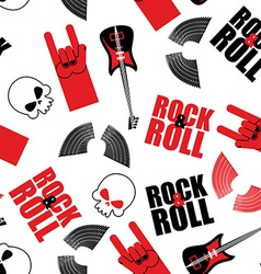 rock music seamless pattern Guitar and skull Wings vector image vector image