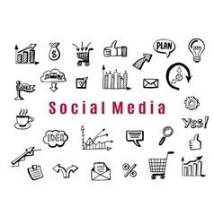 Social media business doodles vector image vector image