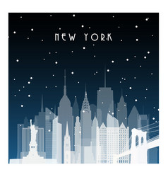 winter night in new york night city in flat style vector image