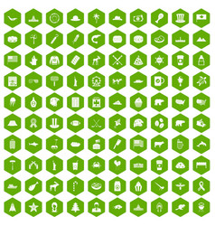 100 north america icons hexagon green vector