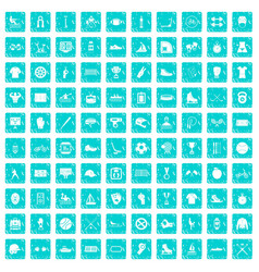 100 sport team icons set grunge blue vector