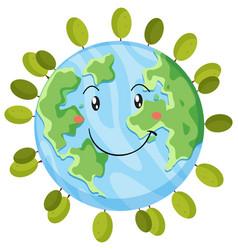 A happy earth icon vector