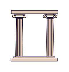 Arch columns icon flat design vector